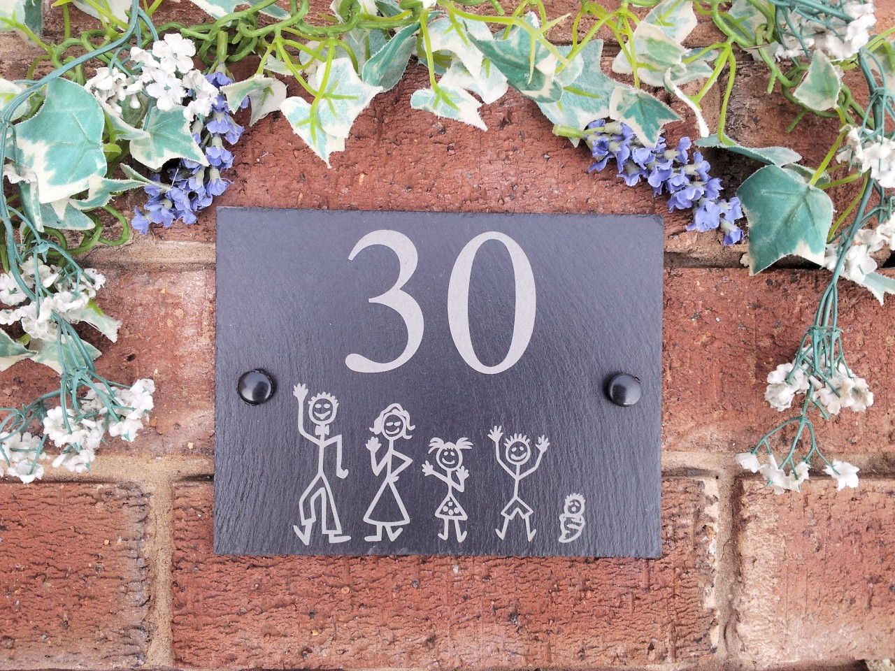 House Number Plaques Slate: Personalised Natural Slate Stick Family House Name Or