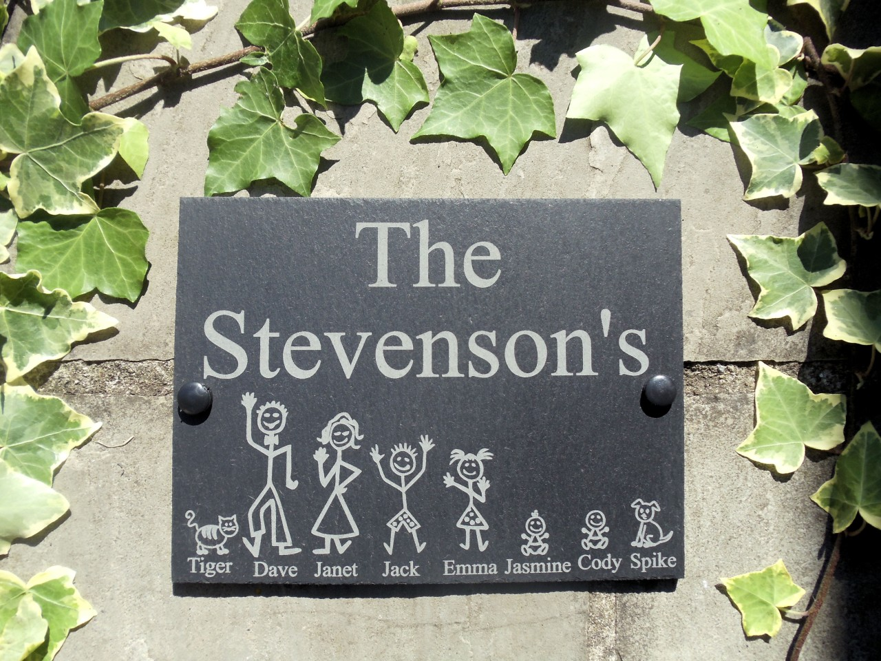 House Number Plaques Slate: Personalised Slate Stick Family House Name Or Number Door