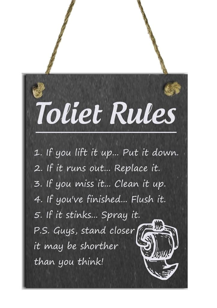 Funny Natural Slate Toilet Rules Sign Plaque Ebay
