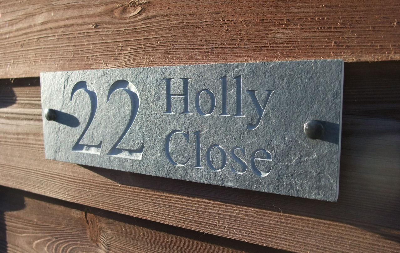 House Number Plaques Slate: Engraved Natural Riven Slate House Door Sign Name Number