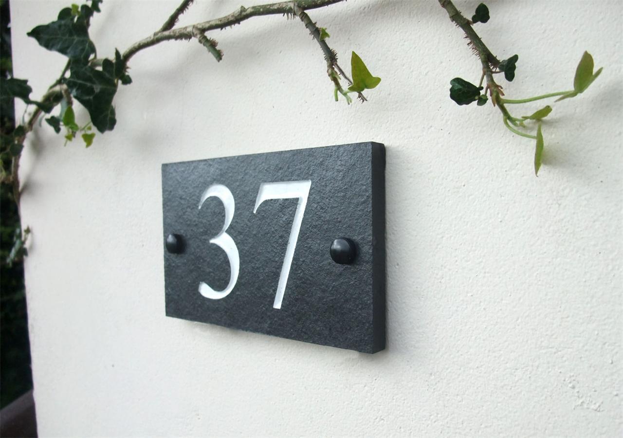 House Number Plaques Slate: Deep Engraved Natural Riven Slate House Door Sign Number