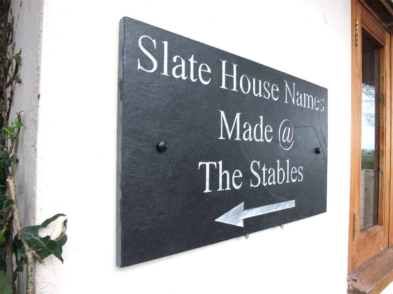 House Number Plaques Slate: Engraved Natural Slate House Door Sign Name Number Plaque