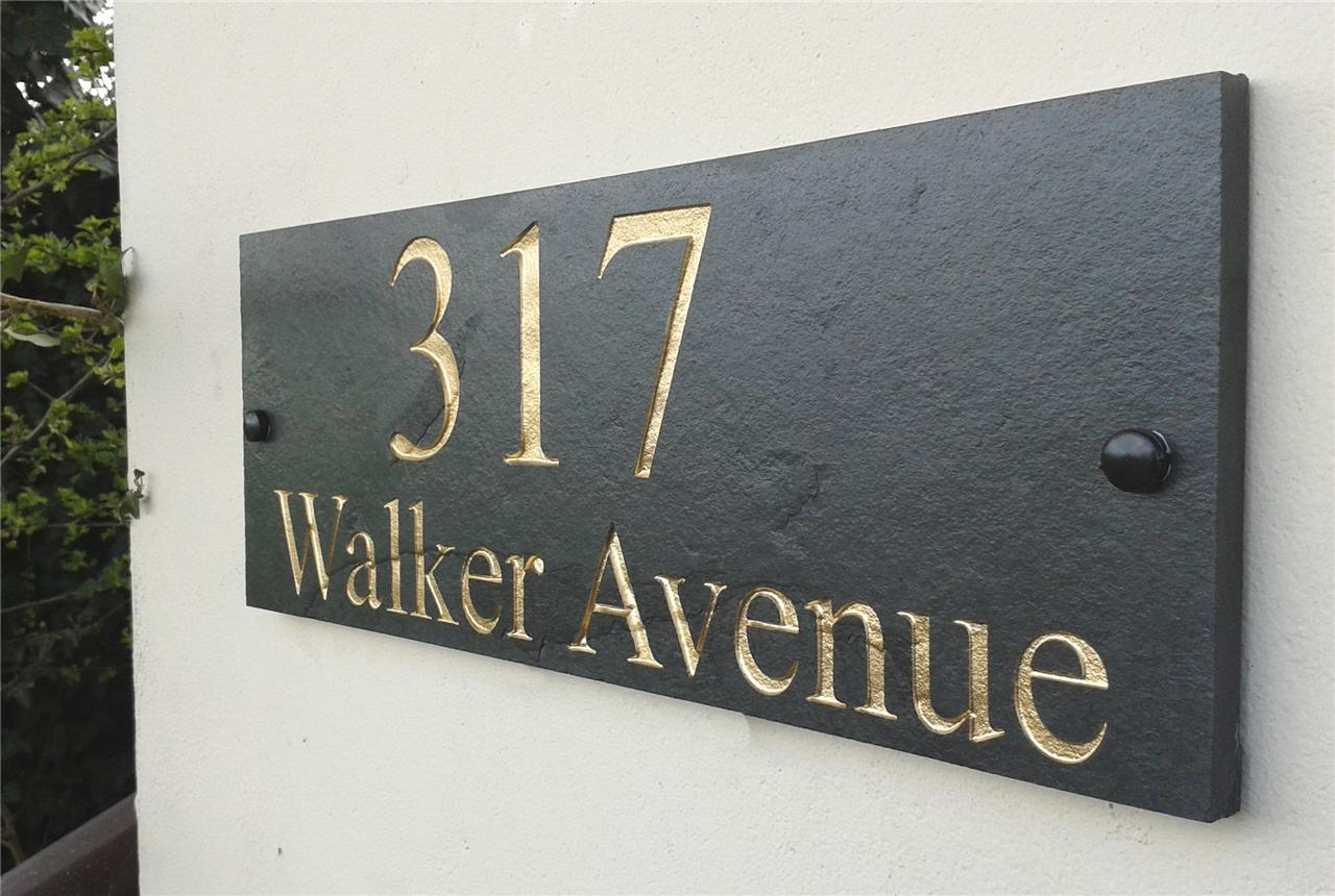 Engraved Natural Slate House Door Sign Name Number Plaque