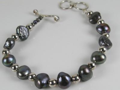 74f69a06f Estate Baroque Tahitian Pearl 925 Sterling Silver Bead Bracelet 16.5 ...