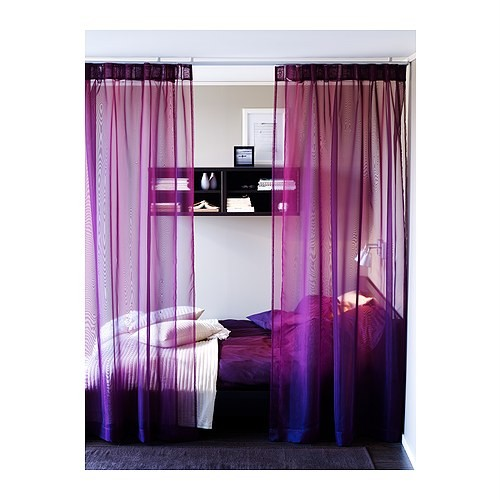 Fab ikea sheer voile curtains purple blue pink black ebay - Blue and purple bedroom curtains ...
