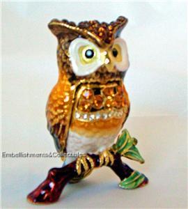Owl Bird Trinket Box Swarovski Crystals RUCINNI