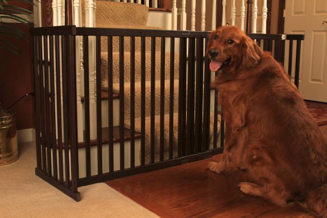 Solid Oak Dog Gate Free Standing Easy Set Up Pet Barrier