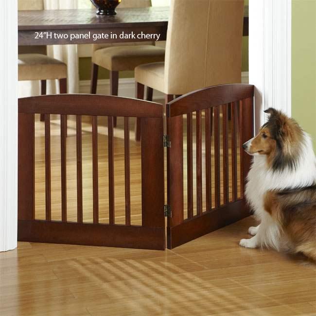 Dog Gate Wood Freestanding Adjustable Doorway Barrier Pet