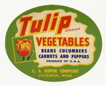 A Ms. Wholesale 25 Tulip Brand Vegetable Crate Labels From C Roper in Jackson