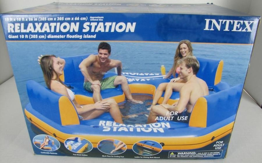 Relaxation Station Pool Lounge: New Intex Relaxation Station Inflatable Water 4 Person