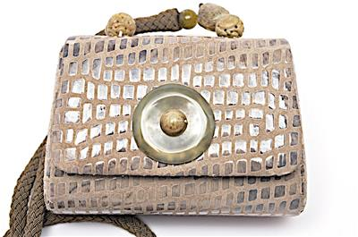 Rafael Sanchez Sand Suede Evening Bag Braided Shoulder Strap Beads 7 X 5