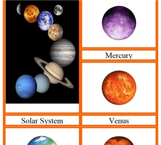 Solar System Space Planets Model Cards Montessori ...