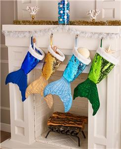 mermaid tail reversible sequinned stockings coastal beach christmas home decor - Coastal Christmas Stockings