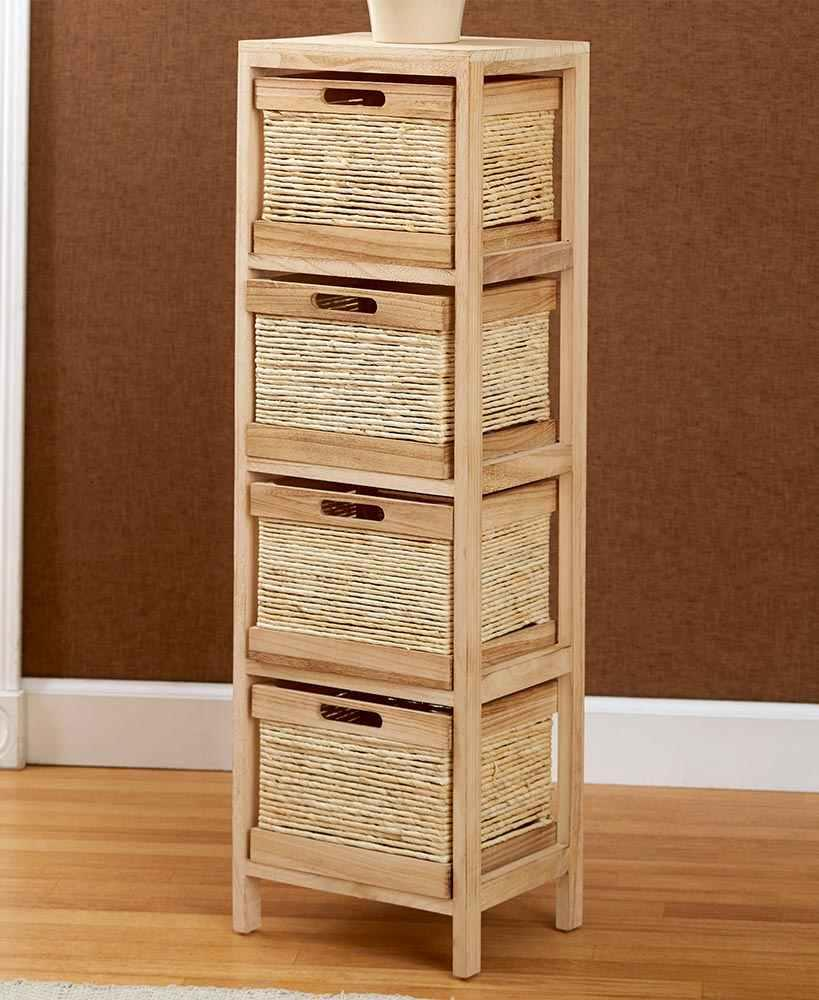 Natural Wood Storage Unit Tower