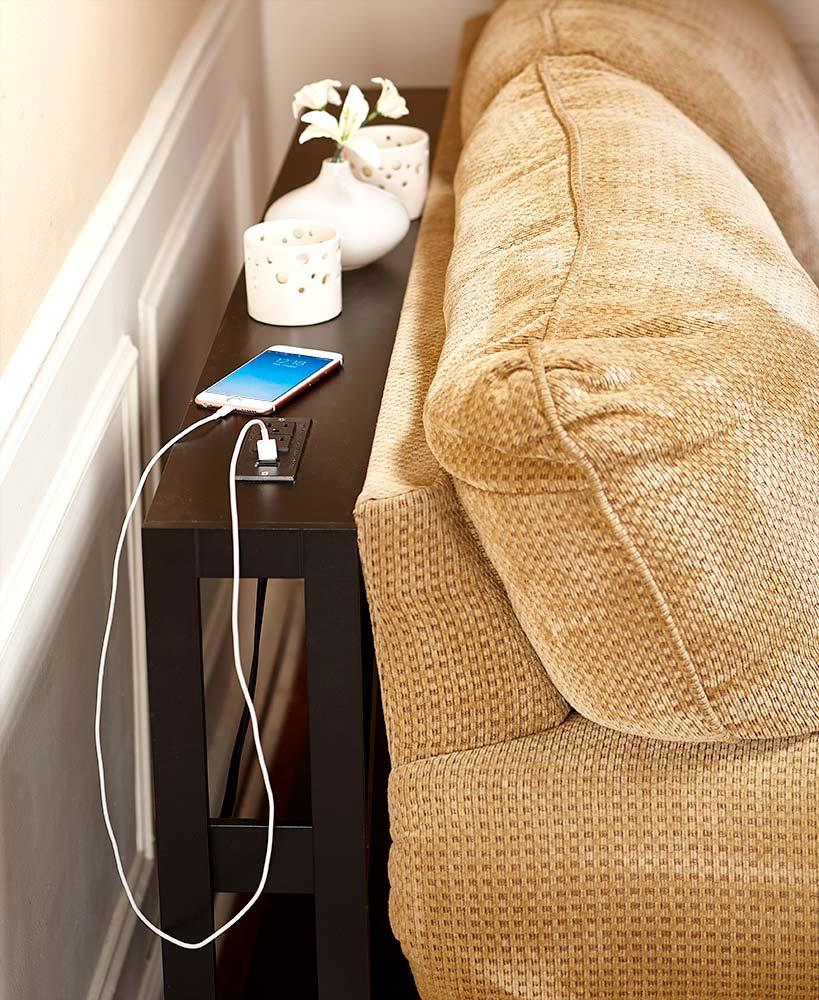 Slim Console Concealed Sofa Table Usb Cell Phone Amp Cord