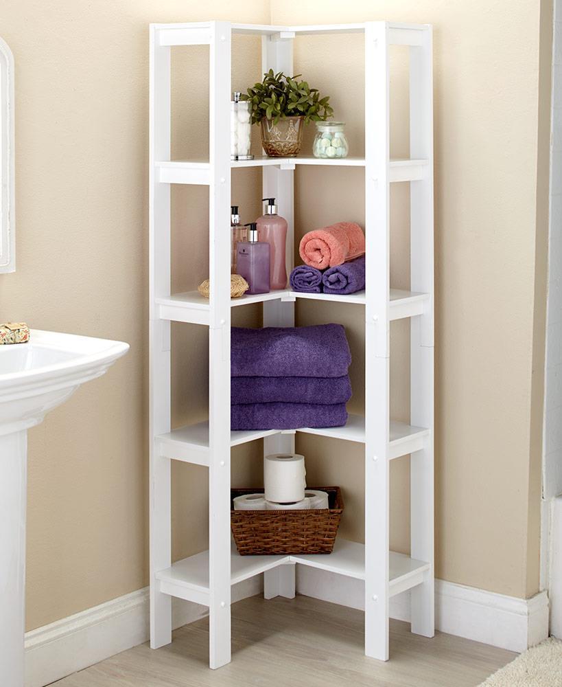 Details About White Corner Shelf 5 Storage Shelves Bathroom Linens Kitchen  Pantry Book Shelf
