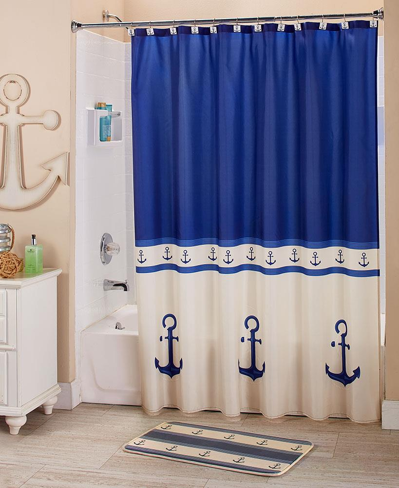Details About Nautical Blue Ship Anchor Bathroom Collection Shower Curtain Hooks Sink Set Rug