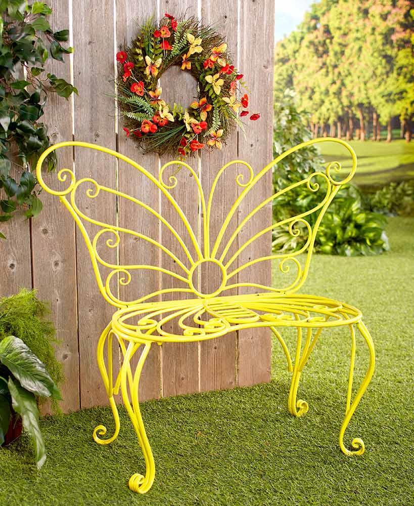 Phenomenal Details About Metal Yellow Butterfly Outdoor Bench Seat Spring Porch Patio Garden Furniture Machost Co Dining Chair Design Ideas Machostcouk