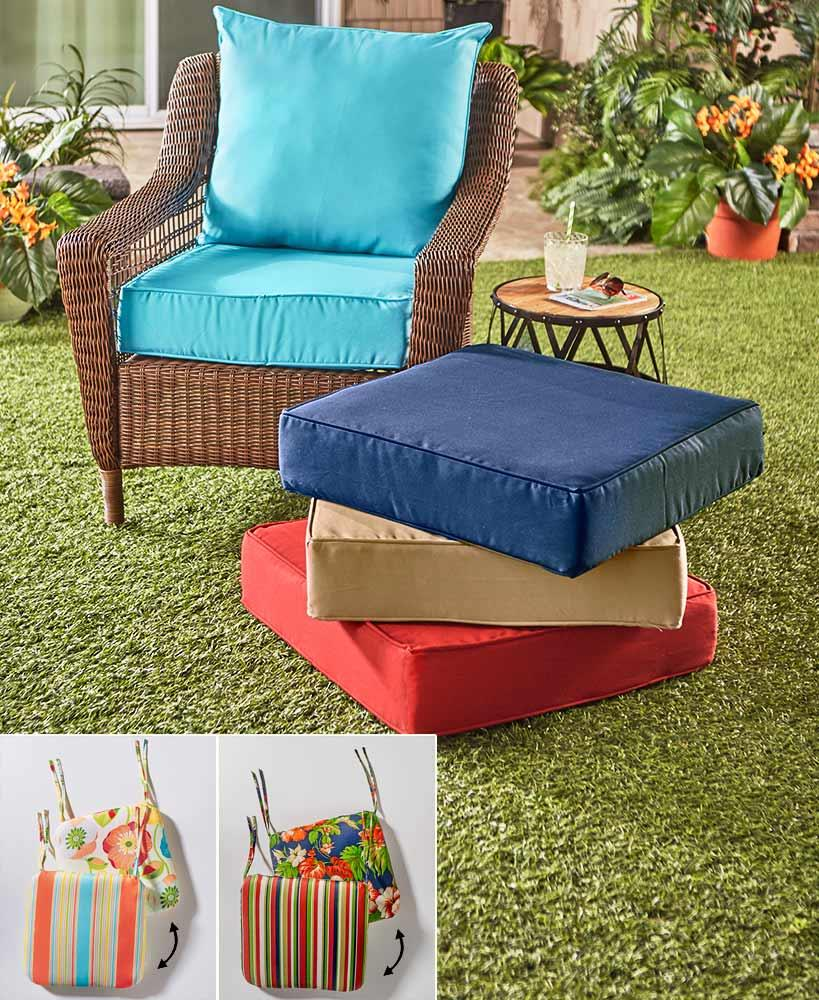 Details About Outdoor Patio Seat Cushion Sets Paradise Deep Seat Linen Tan Navy Blue Red