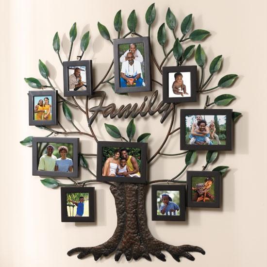 "NEW 27"" X28"" Photo Family Tree Metal Wall Art"