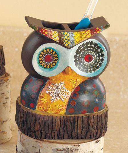 Bathroom Decor Owls: Owl Friend Brown Retro Modern Geometric Shower Curtain