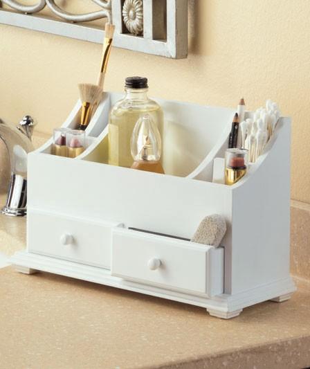 Wooden Bathroom Organizer: White Cosmetic Bathroom Vanity Wooden Beauty Organizer