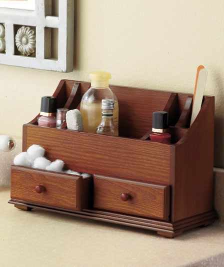 Wooden Bathroom Organizer: NEW Wooden Vanity Beauty Cosmetic Storage Organizer Caddy