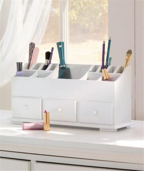 Wooden Bathroom Organizer: NEW Wood Vanity Beauty Cosmetic Makeup Storage Organizer