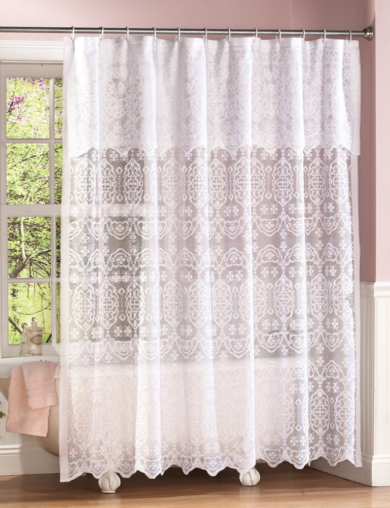 New Elegant Victorian White Lace Shower Curtain w/Attached ...