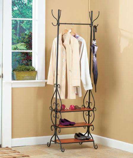 "Coat Rack With Shoe Storage: New 71"" Scrolled Entryway Organizer Coat Tree Coat & Hat"