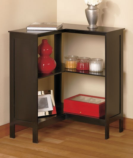 New Wooden Beadboard Corner Bookcase Storage Shelf Walnut Black Or White Ebay