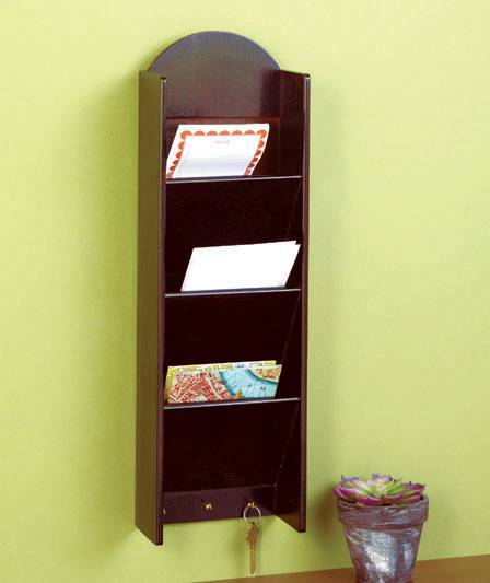 New Hanging 3 Tier Mail Key Holder With Storage Black Or
