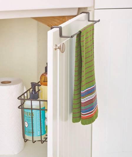 new over the cabinet door towel bar w storage basket organizer brown or chrome ebay. Black Bedroom Furniture Sets. Home Design Ideas