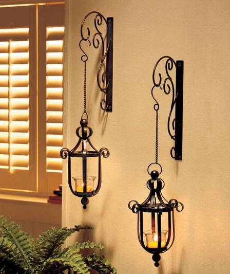 NEW Scrollwork Wall Mounted Hanging Candle Lanterns Wall
