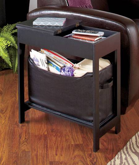 Slim And Versatile Side Storage Table With Bin Offers A Lot Of Storage  Space Without Crowding Your Room. The Richly Finished Wooden Table Has A  Hinged Top ...