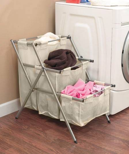 NEW 3 Bin Folding Laundry Room Storage Organizer Clothes ...