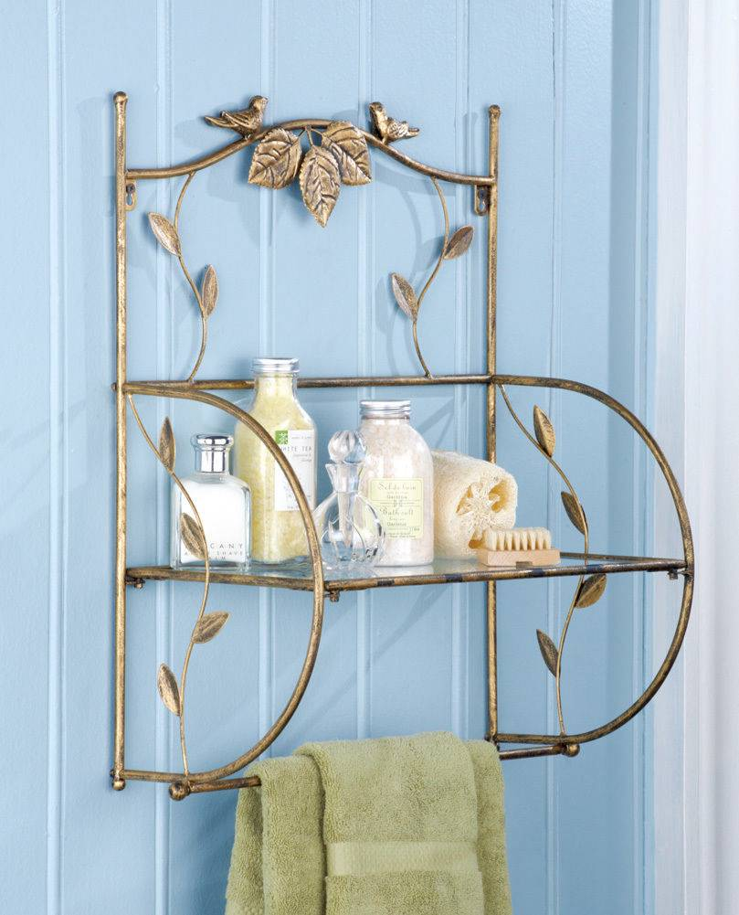 Colorful Glass Bathroom Shelf With Towel Bar Adornment - Bathtub ...