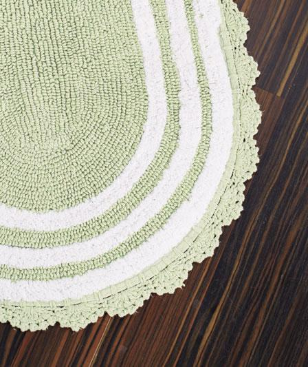 New Reversible Crocheted Border Oval Cotton Bath Rugs