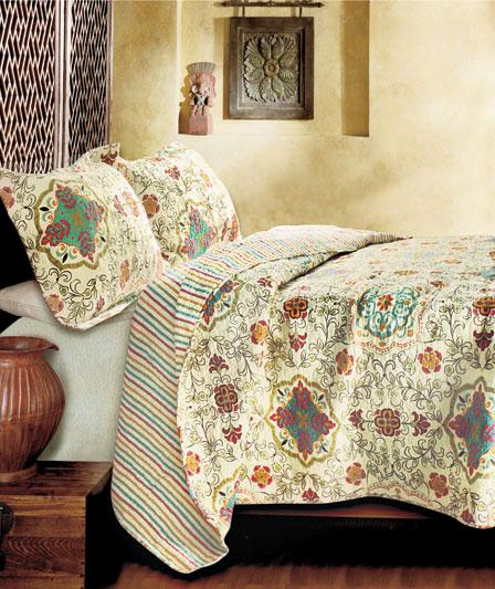 New Esprit Exotic Boho Bohemian Moroccan Paisley Bed Quilt
