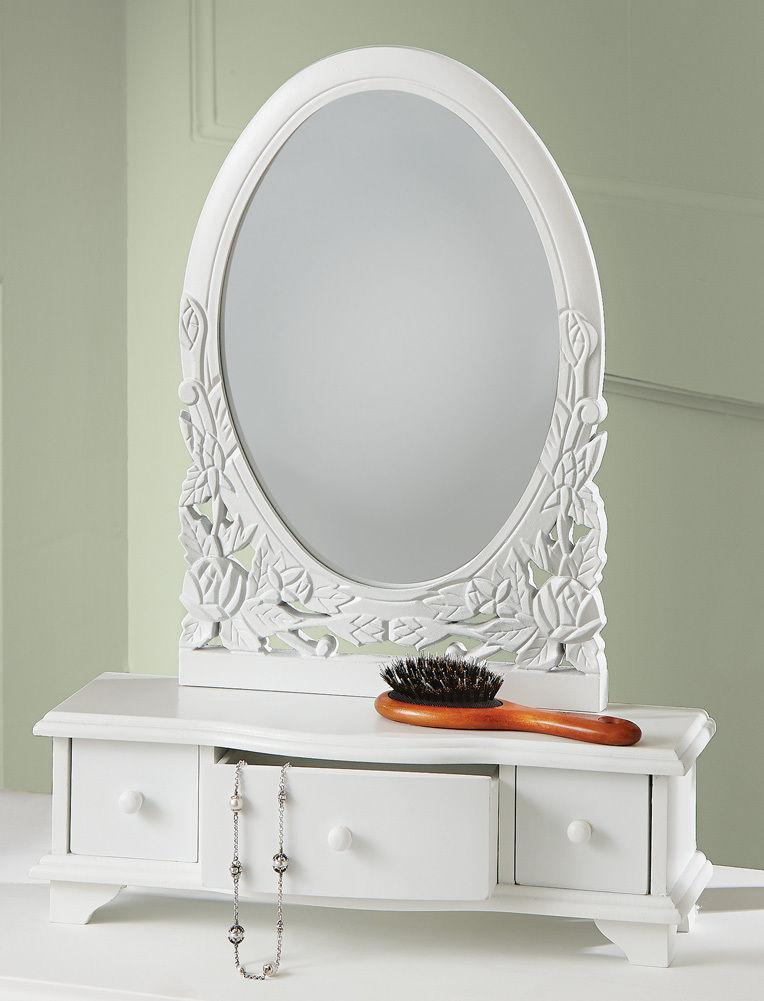 new wooden vanity dresser table top mirror cosmetic jewelry storage organizer ebay. Black Bedroom Furniture Sets. Home Design Ideas
