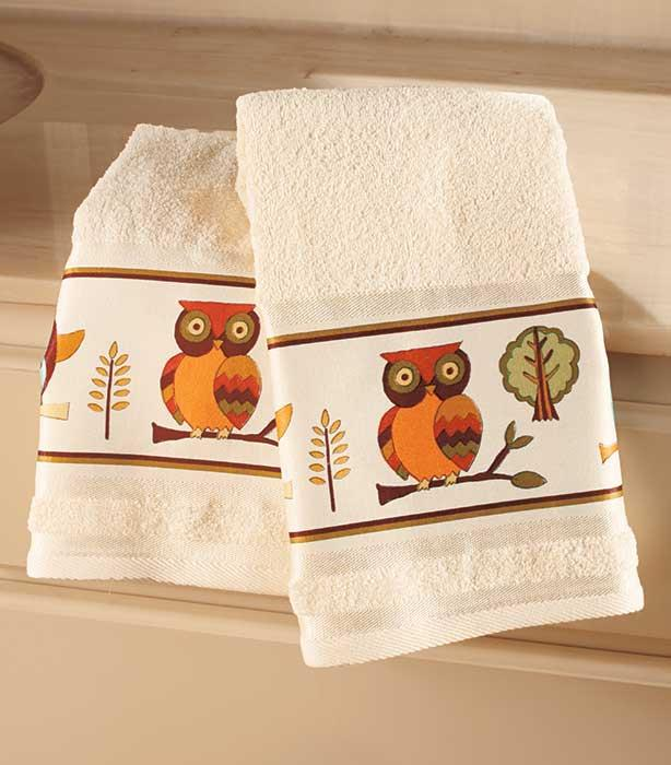 Displaying Guest Towels: NEW Set Of 2 Owl Bathroom Guest Hand Towels