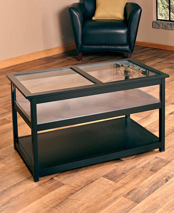 Black Glass Top Coffee Table: New Black Glass Top Display Case End Table Or Coffee Table