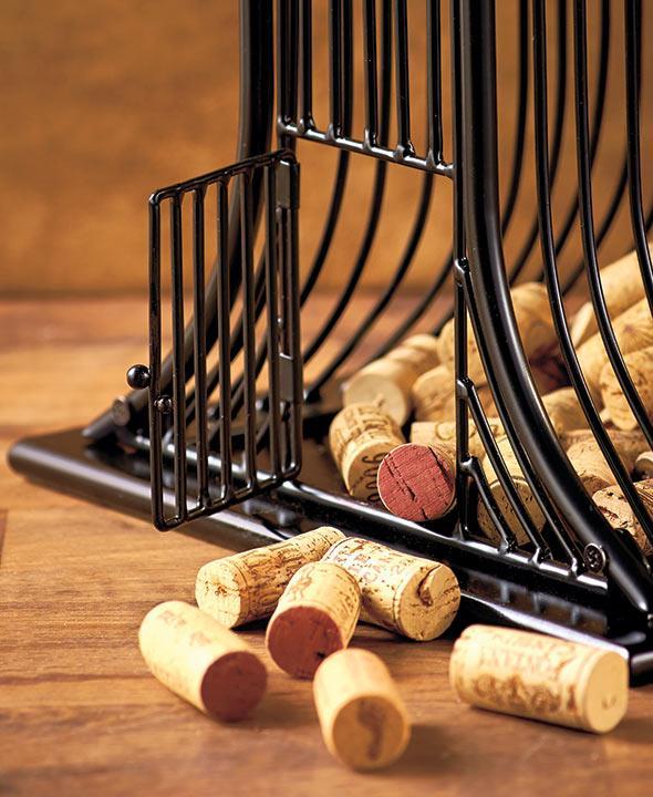 Wine Glass Shaped Bar Table Bottle & Cork Storage Holder