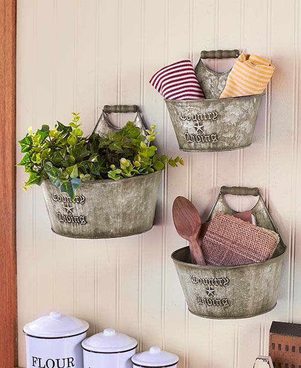Details About 3 Pc Primitive Country Rustic Farmhouse Galvanized Handle Basket Wall Bucket Set