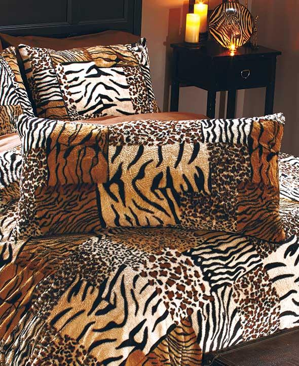 New Safari Faux Fur Animal Print Bedding Comforter Sham