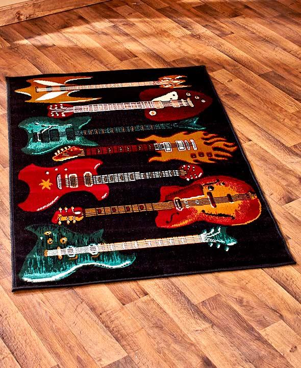 New Themed Guitar Rug Oversized Accent Area Or Round Rug