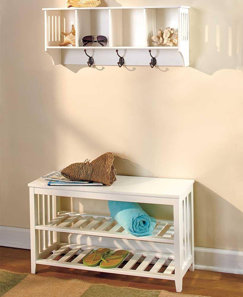 Foyer Wall Storage : New pc white wooden entryway wall shelf hall bench