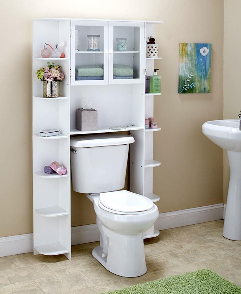 Bathroom Deluxe Over the Toilet Space Saver Storage Cabinet with ...