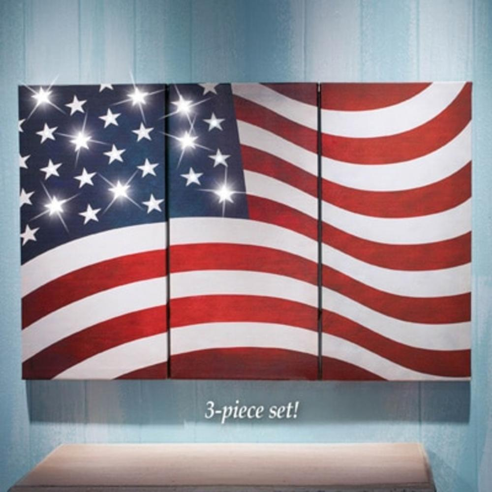 NEW 3 Pc Panel Tryptic Led Lighted American Flag Canvas Wall Art