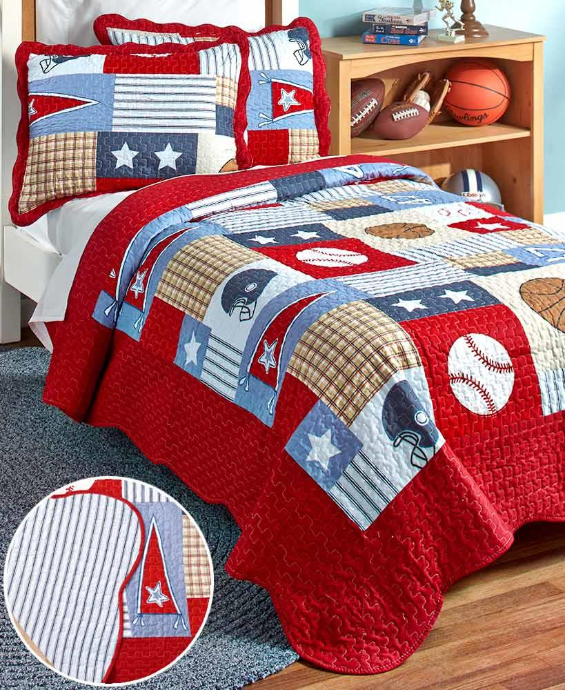 2 PC Reversible Sports Quilt Set TWIN Football Baseball ...